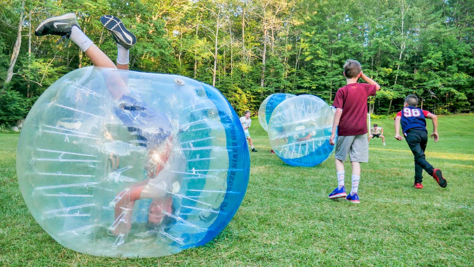 Staff upside down in a bubble ball