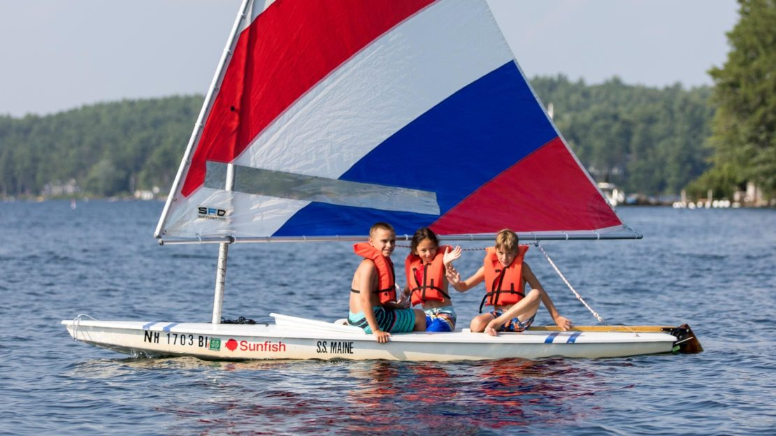 Brookwood campers sailing on the lake