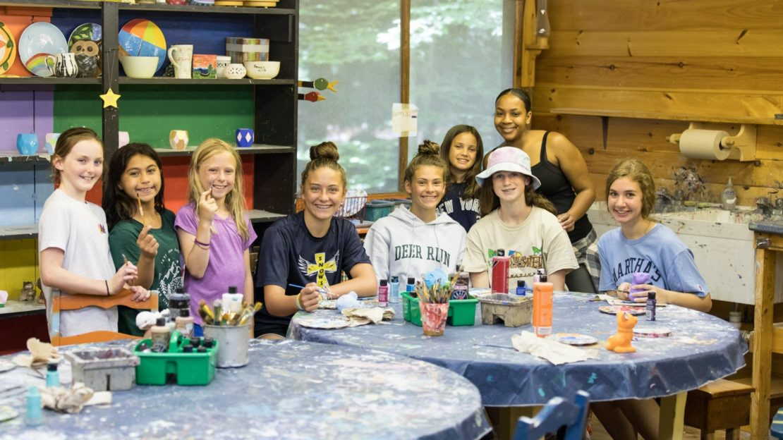 Campers and staff at ceramics