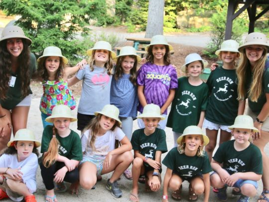 Deer Run explorers wearing white hats