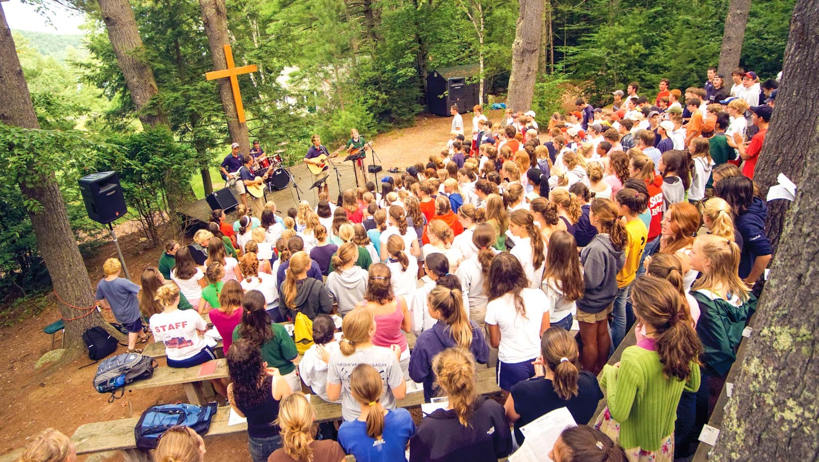 Deer Run campers at a outdoor prayer event