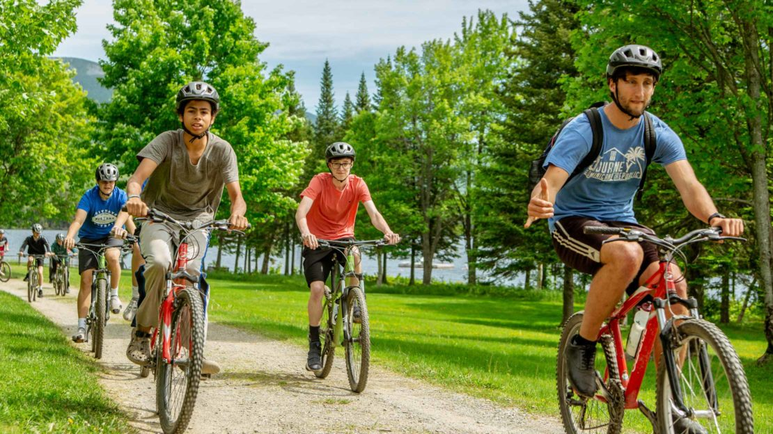 Group of bikers on trail