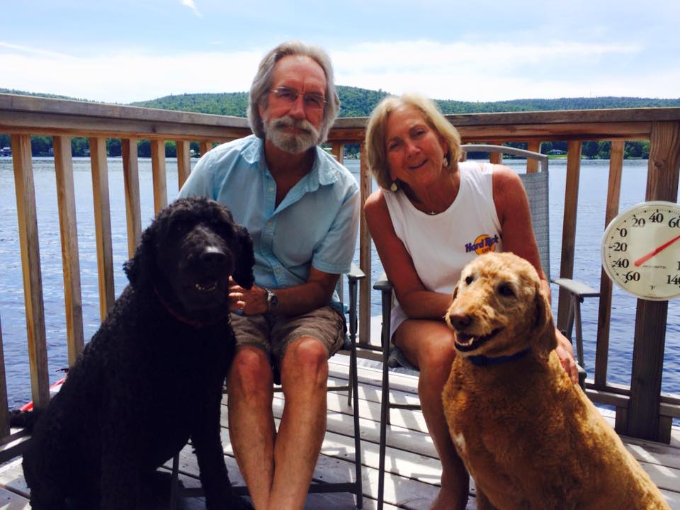"Norm, Anne and the ""pups"" enjoying a favorite place."