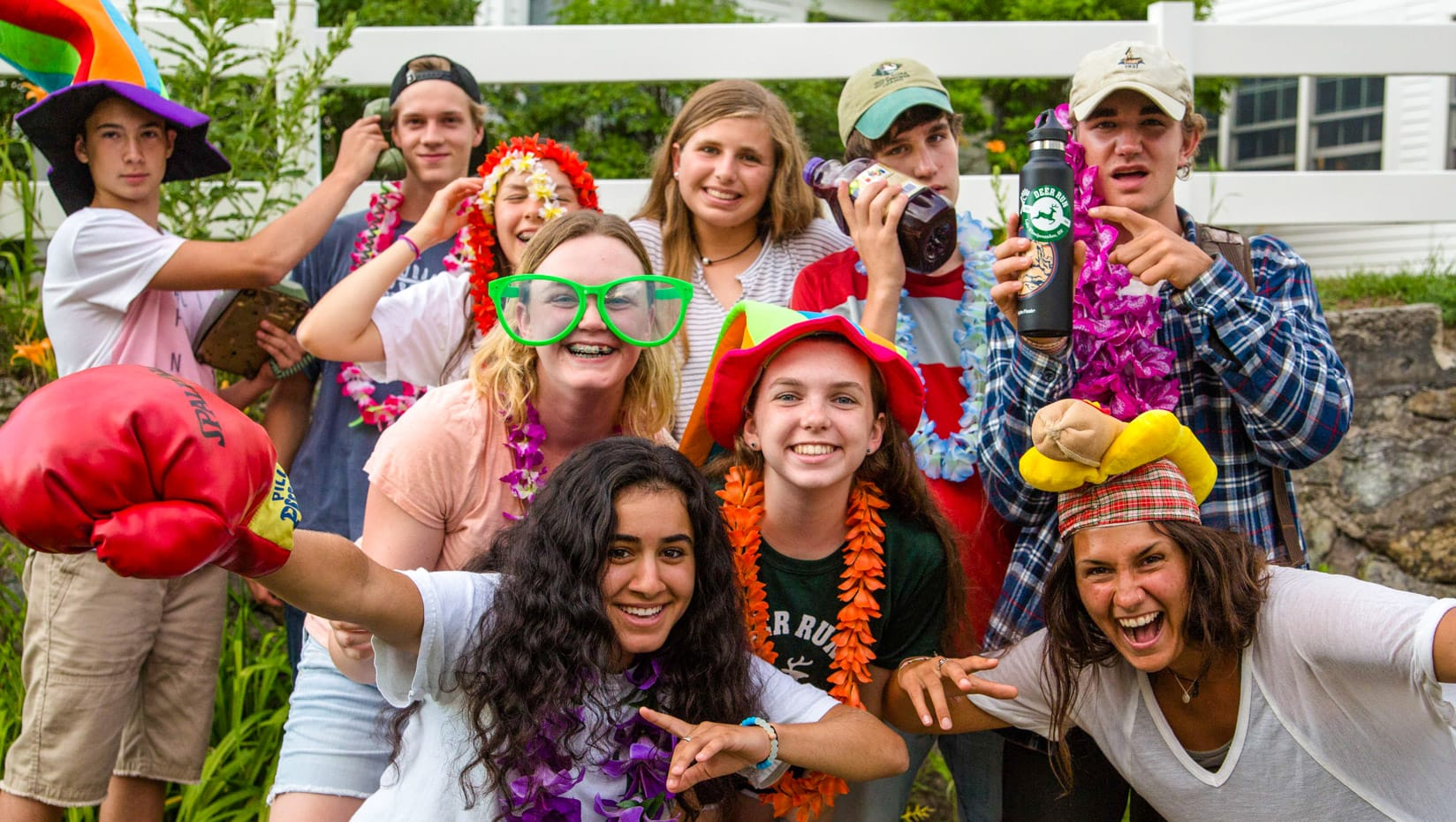 Campers dressed in costumes for July Sock Hop event