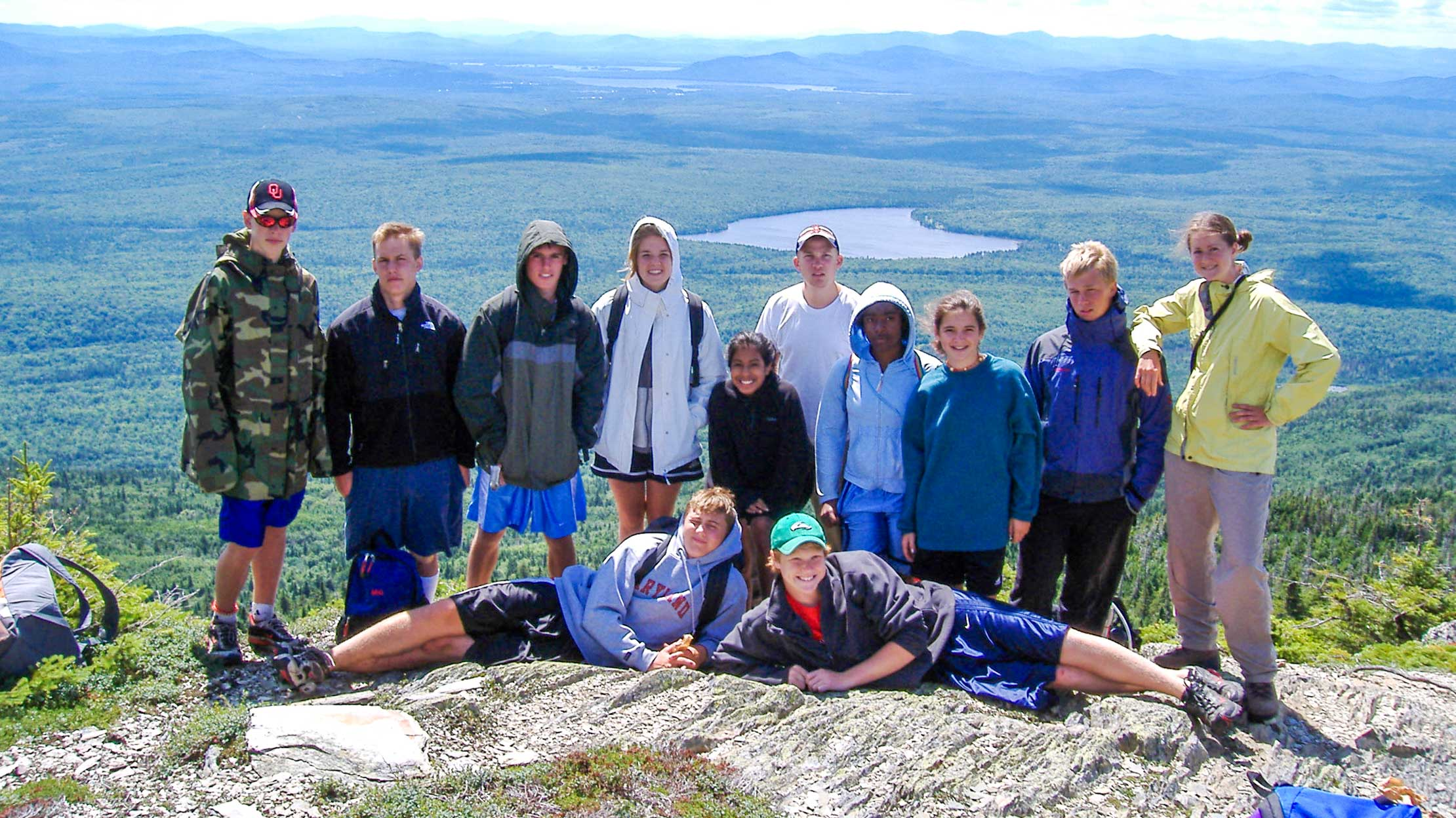 Group hiking while at the Moose River Conference Center